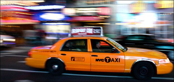 New York City taxi cab in motion.